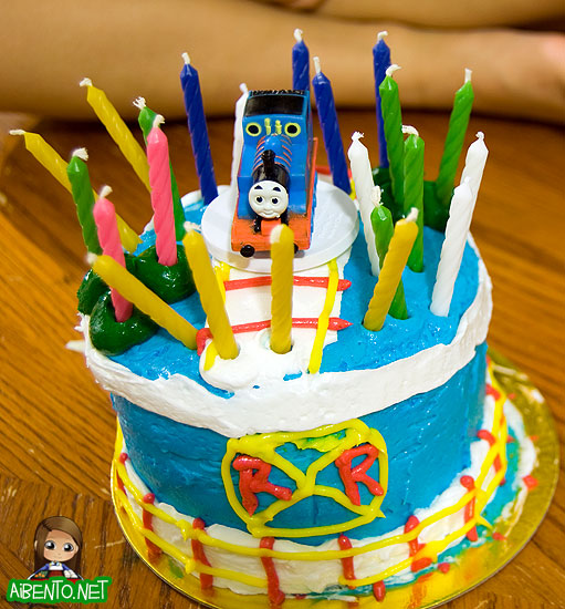Thomas Cake with Candles