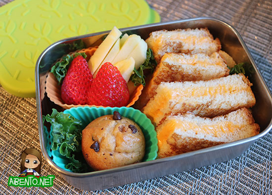 Grilled cheese triangles bento.